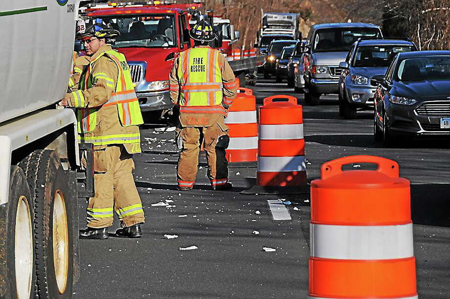 Olivia Drake - Special to the Press Two cars and an oil truck were involved in an accident Thursday on Route 9 in Haddam. Photo: Journal Register Co.