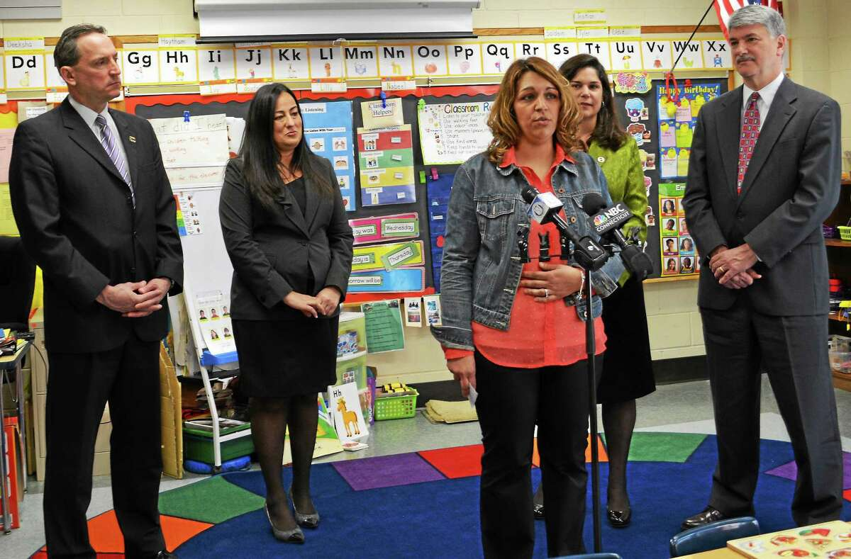 From left, state Sen. Paul Doyle, Middletown Associate Superintendent Enza Macri, parent Kristan Dontfraid, state Sen. Dante Bartolomeo and state Sen. Donald Williams meet to discuss Connecticut Smart Start to help expand preschool programs in the state.
