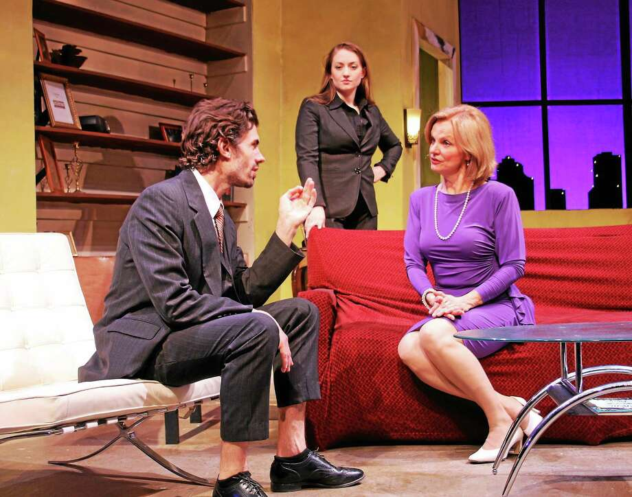 """Photo by Paul Roth From left, Stephen Sherman,Jenny Ashman and Audrey Heffernan Meyer, in """"Romance Language"""" at Seven Angels in Waterbury. Photo: Journal Register Co."""