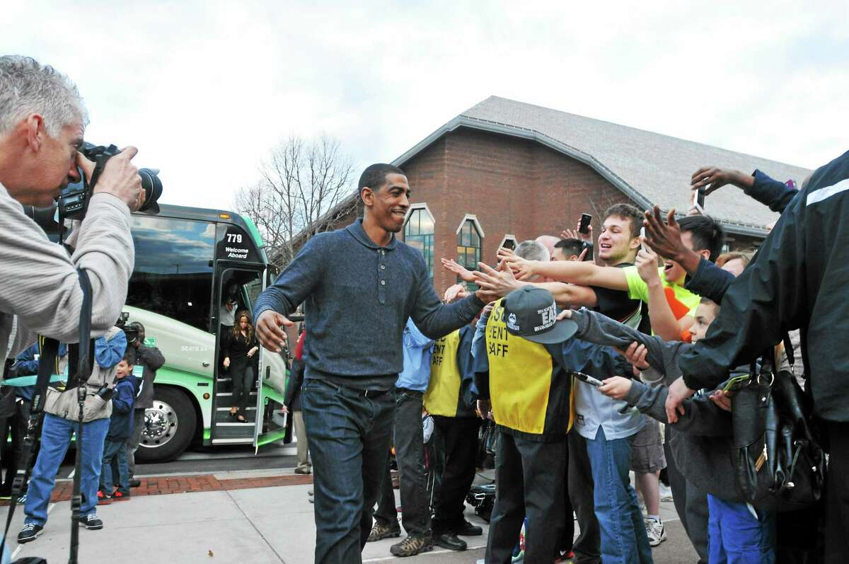 UConn coach Kevin Ollie is welcomed back to Storrs after the Huskies won their fourth national championship on Monday night over Kentucky in Arlington, Texas.