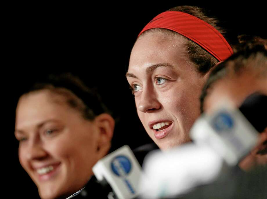 UConn forward Breanna Stewart answers a question during a news conference at the Final Four in Nashville, Tenn., on Monday. Photo: John Bazemore — The Associated Press  / AP