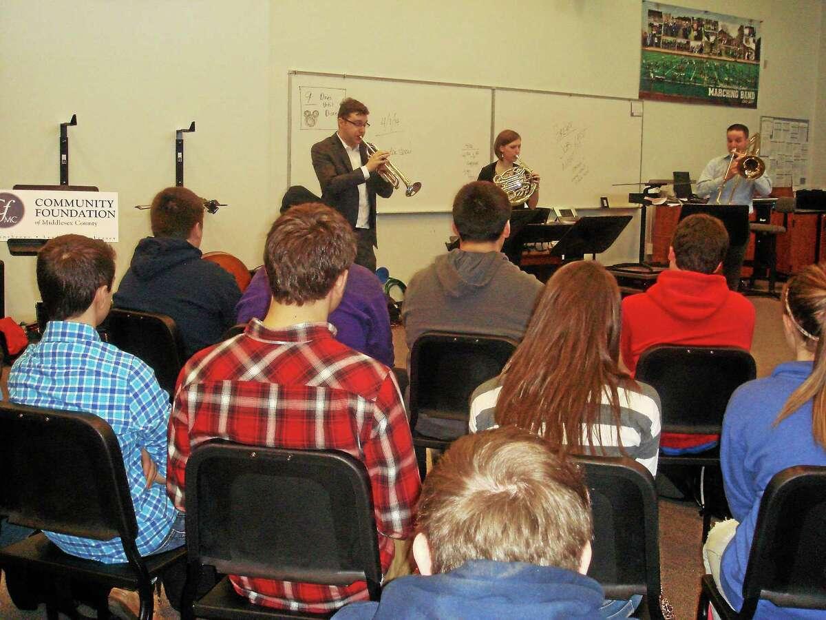 Essex Winter Series performers at Middletown High School: Paul Murphy, Leelanee Sterrett and Stephen Dunn