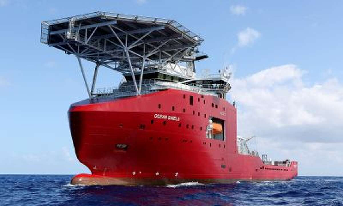 In this April 4, 2014, photo provided by the Australian Defense Force, the Australian Defense vessel Ocean Shield tows a pinger locator in the first search for the missing flight data recorder and cockpit voice recorder in the southern Indian Ocean. Ocean Shield, which is carrying high-tech sound detectors from the U.S. Navy, was investigating a sound it picked up. (AP Photo/Australian Defense Force, Lt. Kelly Lunt) EDITORIAL USE ONLY