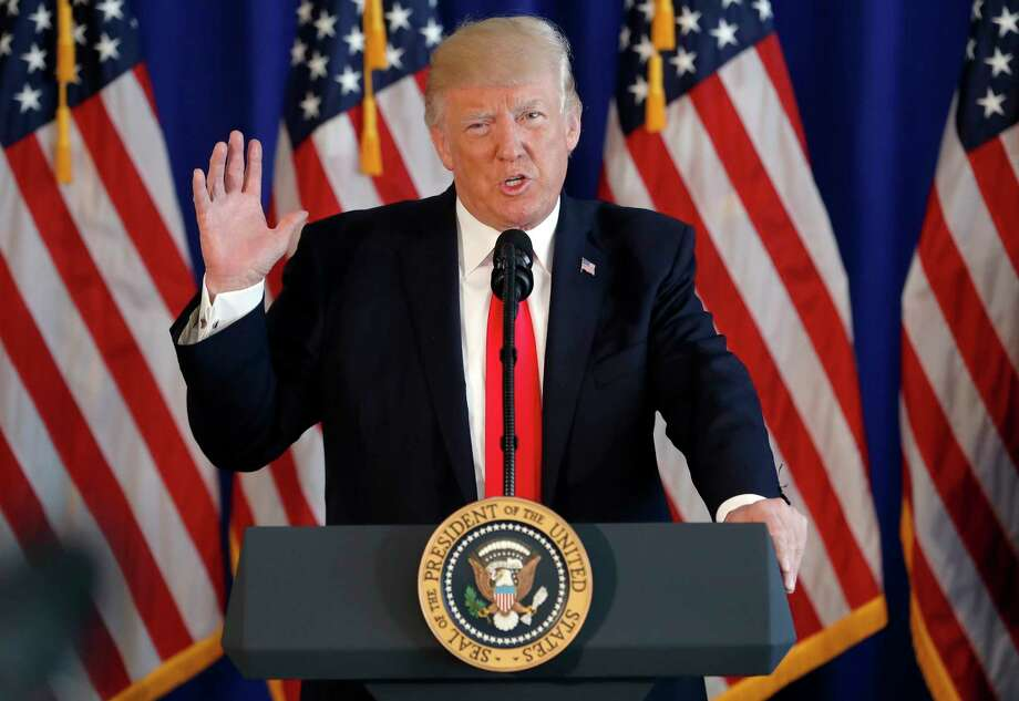 President Donald Trump speaks about the ongoing situation in Charlottesville, Va., at Trump National Golf Club, Saturday, Aug. 12, 2017, in Bedminster, N.J. (AP Photo/Pablo Martinez Monsivais) Photo: Pablo Martinez Monsivais, STF / Copyright 2017 The Associated Press. All rights reserved.