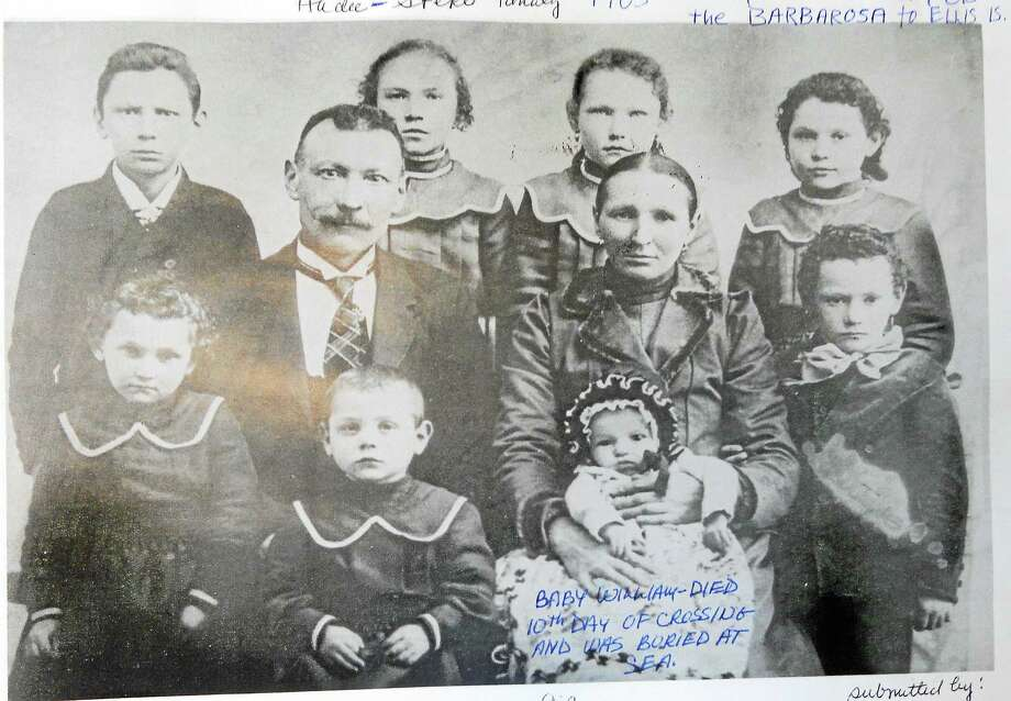 Photo courtesy of Sharon Brazos Sheedy Middletown's John Hudec family came through Ellis Island in 1905 from Czechoslovakia with eight children on the Ship Barbarosa. Baby William died of dysentery and was buried at sea. Photo: Journal Register Co.