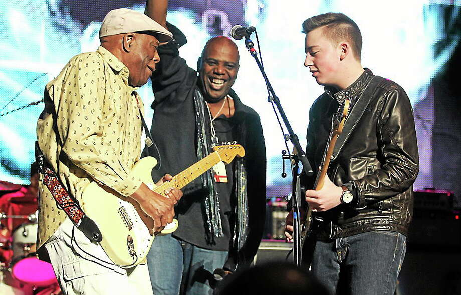 "Photo by John Atashian Guitar legend Buddy Guy, 77, is shown jamming with fifteen year old blues guitarist Quinn Sullivan during the ""Experience Hendrix"" concert held at the Palace Theater in Waterbury on Saturday night March 29. Other guitarists that performed in this incredible tribute show included Kenny Wayne Shepherd, Jonny Lang, Dweezil Zappa, Eric Gales, Eric Johnson, Doyle Bramhall II, Billy Cox and many other great players. You can learn more about the Experience Hendrix concert tour at www.experiencehendrixtour.com Photo: Journal Register Co."