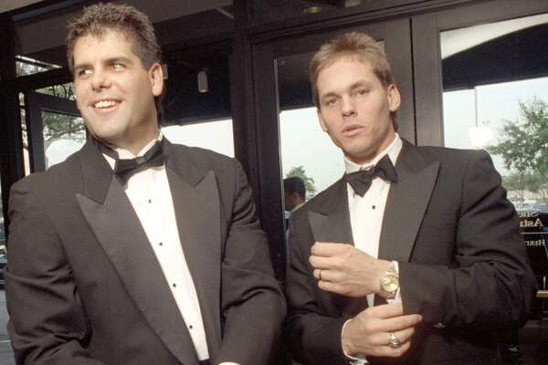 Astros third baseman, Ken Caminiti, left, and second baseman, Craig Biggio, were among the players who shed their baseball uniforms for snappy tuxedo attire at an annual benefit for the Women's Center of Houston.  Sheraton Astrodome, 07/23/1992.    HOUCHRON CAPTION (07/25/1992):  Astros third baseman, Ken Caminiti, left, and second baseman, Craig Biggio, were among the players who shed their baseball uniforms for snappy tuxedo attire