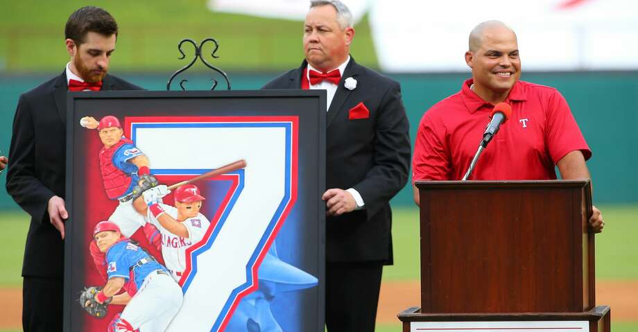 ARLINGTON, TX - AUGUST 12: Ivan (Pudge) Rodriguez speaking had his #7 jersey third Ranger to have his jersey retired in the history of the Texas Rangers before the game against the Houston Astros at Globe Life Park in Arlington on August 12, 2017 in Arlington, Texas. (Photo by Rick Yeatts/Getty Images) Photo: Rick Yeatts/Getty Images
