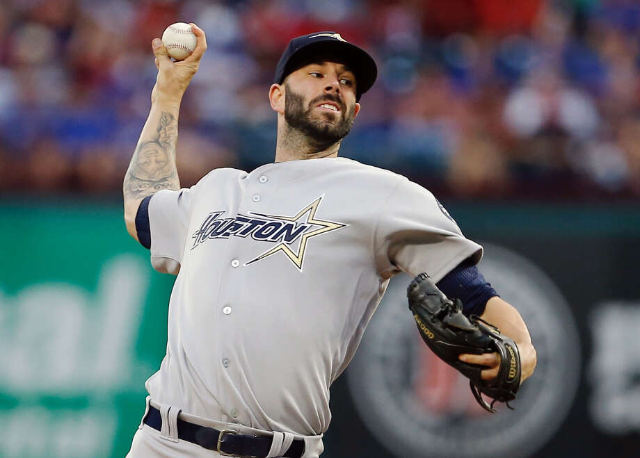 Astros starter Mike Fiers worked four-plus innings against the Rangers on Saturday, allowing six runs on five hits and a season-high four walks. Fiers fell to 7-7 as his ERA rose to 4.36. Photo: Brandon Wade, FRE / FR168019 AP