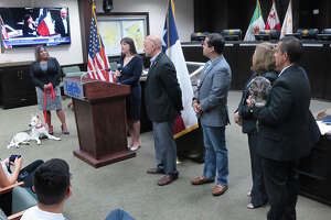 A press conference was held at City Council Chambers where Dr. Rebecca A. Rodriguez, D.V.M., at podium, was announced as the staff veterinarian for the City of Laredo at the Animal Care Services Department and the City's animal shelter facility.