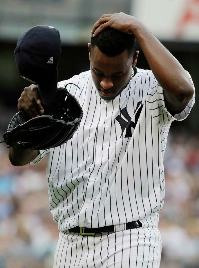 New York Yankees starting pitcher Luis Severino leaves during the fifth inning of a baseball game against the Boston Red Sox, Saturday, Aug. 12, 2017, in New York. (AP Photo/Frank Franklin II) ORG XMIT: NYY118 Photo: Frank Franklin II / Copyright 2017 The Associated Press. All rights reserved.