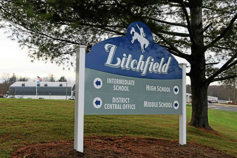 The sign for Litchfield High and Litchfield Intermediate schools. Photo: John Fitts — The Register Citizen