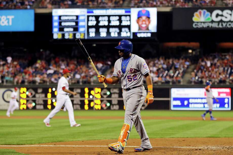 New York Mets' Yoenis Cespedes walks back to the dugout after striking out against Philadelphia Phillies relief pitcher Ricardo Pinto during the eighth inning of a baseball game, Saturday, Aug. 12, 2017, in Philadelphia. Philadelphia won 3-1. (AP Photo/Matt Slocum) ORG XMIT: PXS112 Photo: Matt Slocum / Copyright 2017 The Associated Press. All rights reserved.