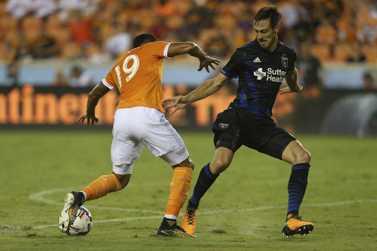 Houston Dynamo forward Mauro Manotas (19) is defensed by San Jose Earthquakes defender Francois Affolter (3) during the second half of the game at BBVA Compass Stadium Saturday, Aug. 12, 2017, in Houston. Houston Dynamo defeated San Jose Earthquakes 3-0.( Yi-Chin Lee / Houston Chronicle )