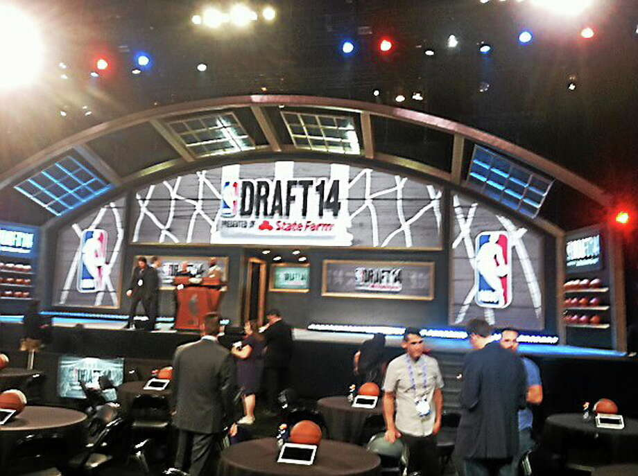 The stage for the 2014 NBA Draft at the Barclays Center in Brooklyn. Photo: David Borges — Register