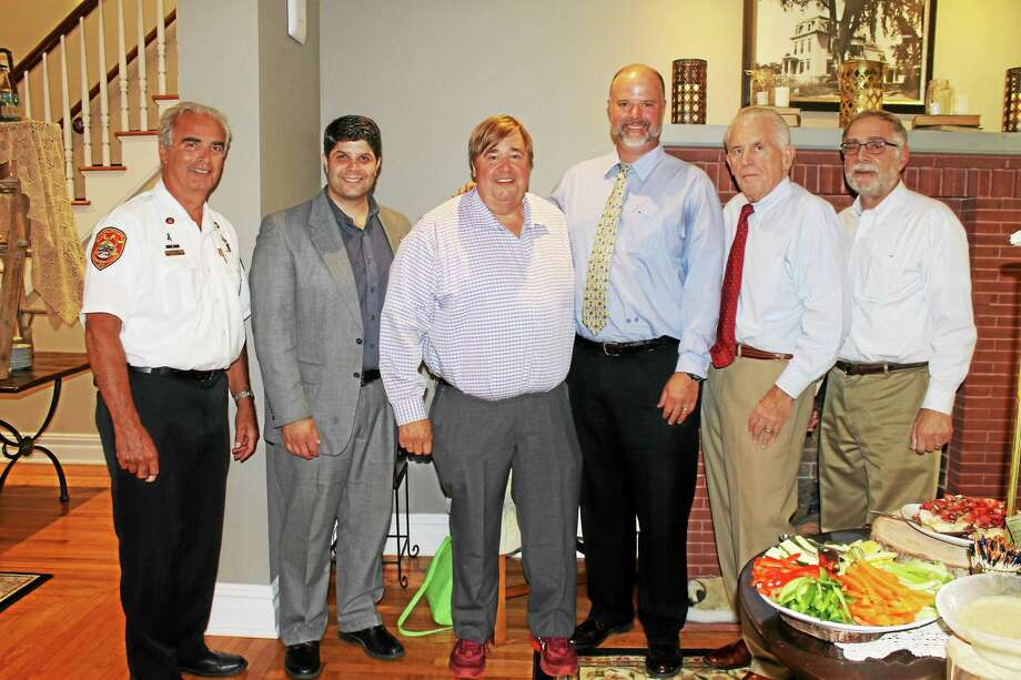Submitted photo Chamber staff attended the grand opening for The Farm House hosted by Connecticut Wedding Group. From left are: Middletown Fire Marshal Al Santostefano, Mayor Dan Drew, Connecticut Wedding Group President and CEO Tom McDowell and VP and COO Jonathan Jennings, Chamber President Larry McHugh and Deputy Mayor Bob Santangelo. Photo: Journal Register Co.