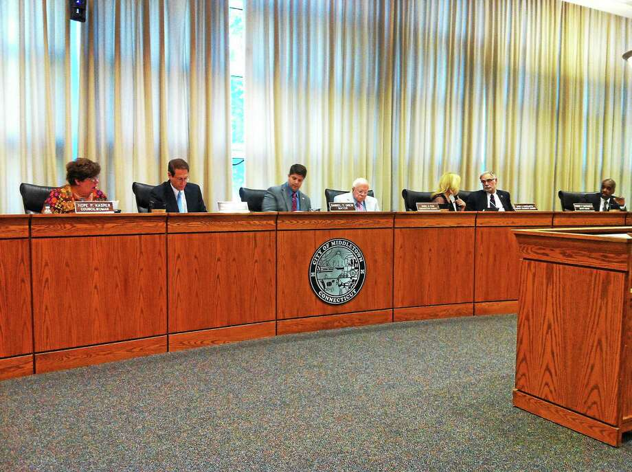 Members of the Middltown Common Council and Mayor Daniel Drew at an Aug. 4 meeting in Council Chambers. Photo: Viktoria Sundqvist - The Middletown Press