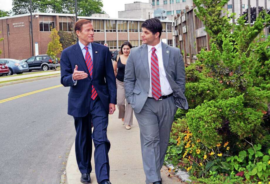 Sen. Richard Blumenthal, D-Connecticut, visited Middletown businesses and met city hall employees with Mayor Dan Drew Friday. He spoke about the economy, immigration and education. Photo: Cassandra Day - The Middletown Press