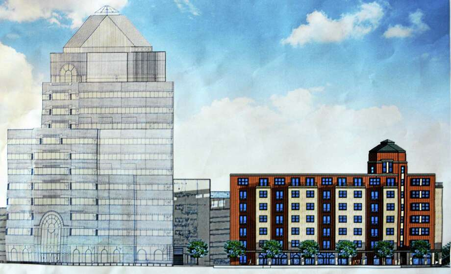 Renderings are shown for the proposed six-story high-rise commercial and apartment complex in downtown Middletown, estimated to cost $12 million. Photo: Courtesy Middletown Planning