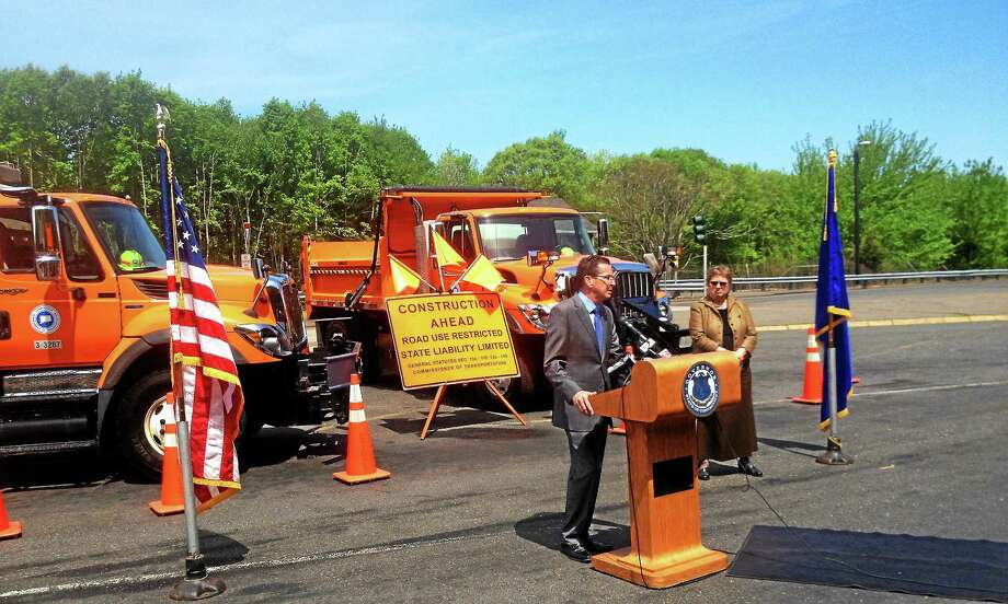 Alex Gecan - The Middletown Press Gov. Dannel Malloy and ConnDOT Deputy Commissioner Anna Barry announced 264 miles of road resurfacing at a press event Wednesday at the Middletown rest area on Interstate 91. Photo: Journal Register Co.