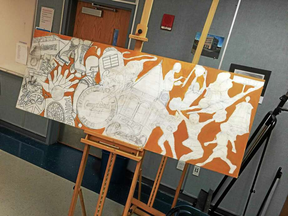 Middletown High School needs past graduates to contribute to historial murals. Photo: Alex Gecan — The Middletown Press
