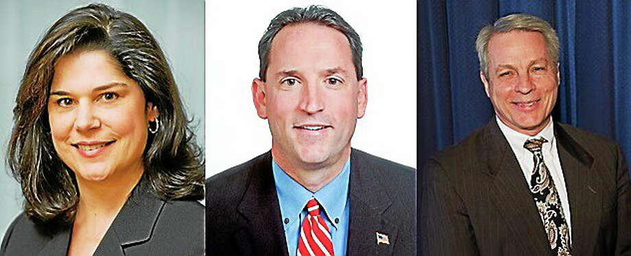 Courtesy photos From left are state Sens. Dante Bartolomeo, D-Meriden, and Paul Doyle, D-Wethersfield, and Republican candidate for 13th district, former senator Len Suzio. Photo: Journal Register Co.