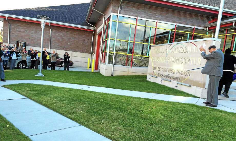 The memorial sign was unveiled Friday at the Thomas A. Cheeseman Transportation Center at 91 North Main St., Middletown. Photo: Alex Gecan — The Middletown Press