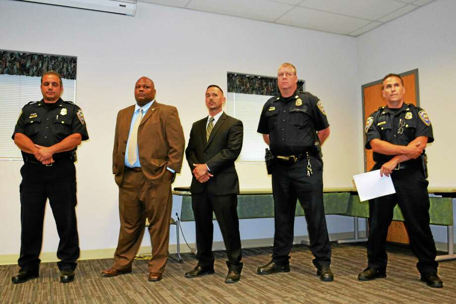 Middletown Mayor Dan Drew announces at a press conference July 2 that an independent investigation has cleared Police Chief William McKenna of charges he solicited prescription narcotics from other officers in this file photo. Photo: File Photo