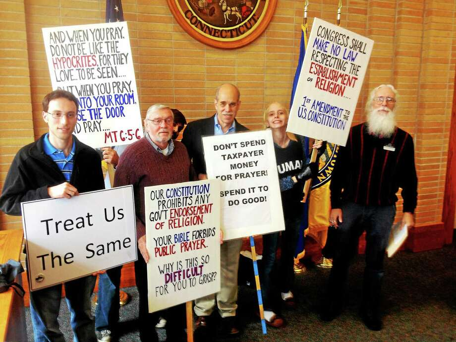 Alex Gecan - The Middletown Press Protestors objected to observance of a national day of prayer at City Hall Thursday. Photo: Journal Register Co.