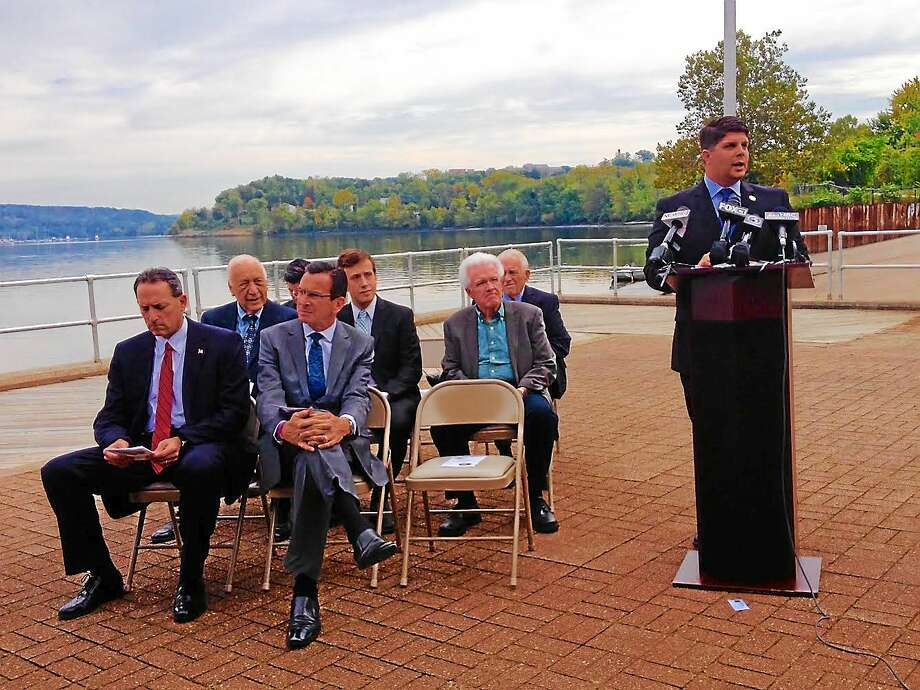 Cassandra Day - The Middletown Press Middletown Mayor Dan Drew, Sen. Paul Doyle, D-Wethersfield, Gov. Dannel P. Malloy and other dignitaries spoke during a press conference in September at Harborpark on the Connecticut River. Photo: Journal Register Co.