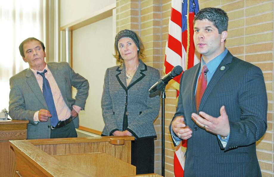 Mayor Daniel Drew, Superintendent Patricia Charles and Board of Education Chairman Eugene Nocera are pictured in this file photo. Photo: CATHERINE AVALONE — THE MIDDLETOWN PRESS
