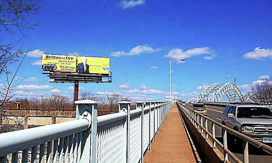 Alex Gecan - The Middletown Press Lamar Central Outdoor, LLC, is suing the city in order to convert its billboard overlooking the Arrigoni Bridge into an LED display. Photo: Journal Register Co.