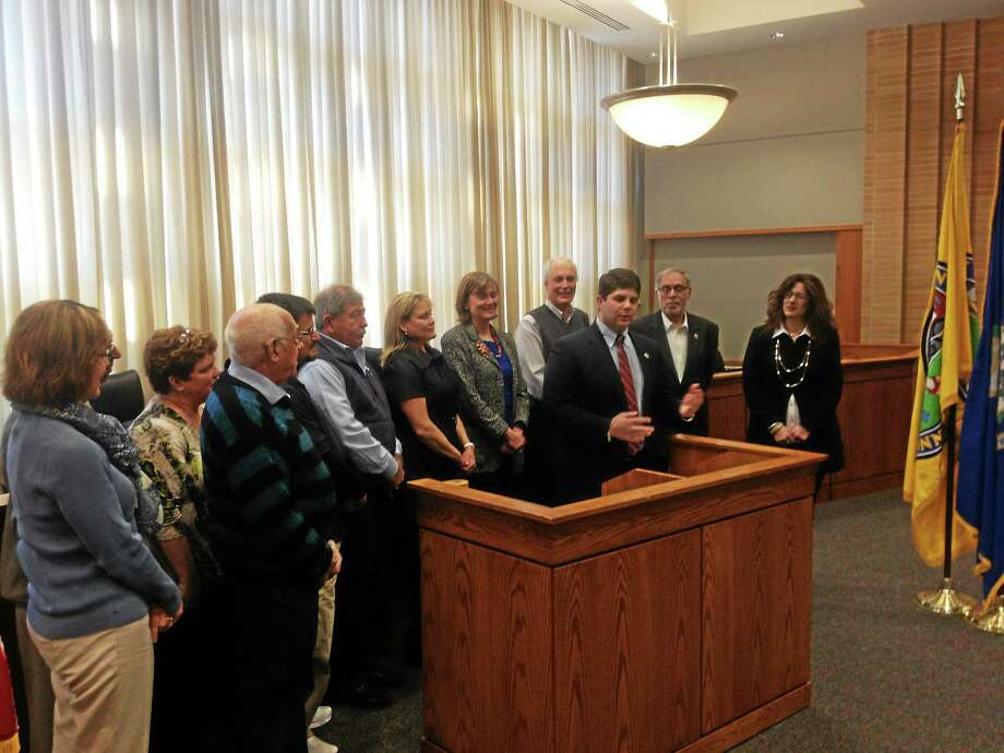 Mayor Daniel Drew announced the beneficiaries of the 2014 Mayor's Ball at City Hall Friday. Photo: Alex Gecan - The Middletown Press