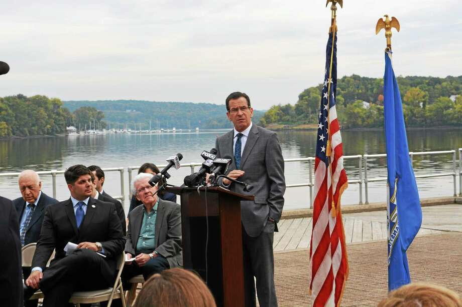 Gov. Dannel P. Malloy visited Middletown Monday to announce the state's $2.6 million investment in the city's Connecticut Riverfront redevelopment, which will go toward environmental remediation and planning, at Harbor Park. Photo: Cassandra Day - The Middletown Press