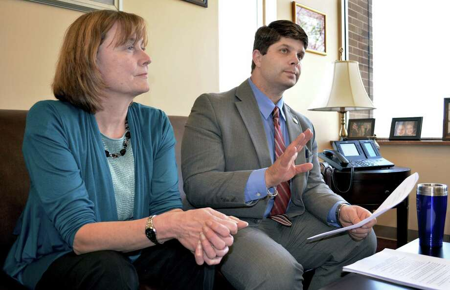 Mayor Dan Drew and Superintendent of Middletown Public Schools Pat Charles, shown in this file photo, have proposed to share financial services across the board of education and the city. Photo: Catherine Avalone - The Middletown Press