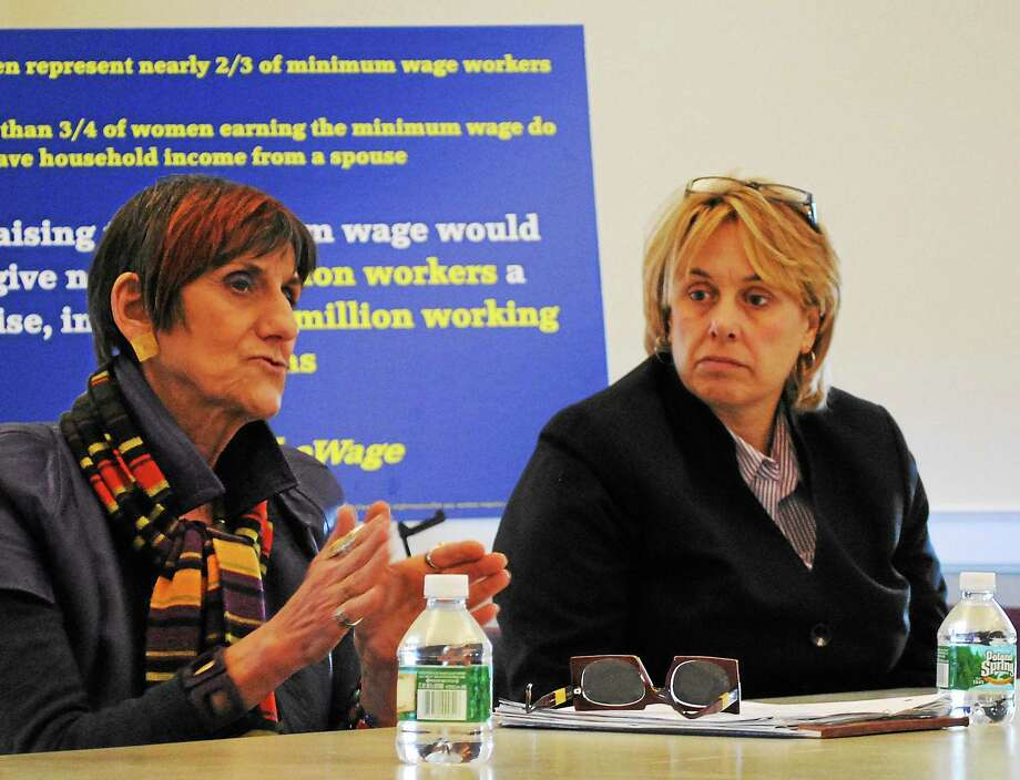 Viktoria Sundqvist - The Middletown Press U.S. Rep. Rosa DeLauro, left, talks about minimum wage while union leader Lori Pelletier listens on Wednesday. Photo: Journal Register Co.