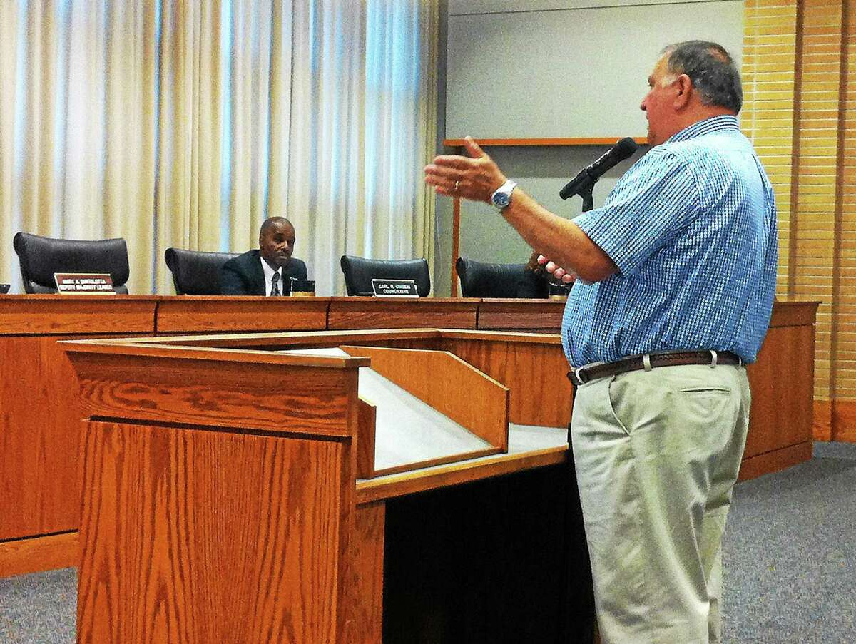 Middletown Charter Revision Commission Vice Chairman Joseph Milardo speaks to the members of the Common Council on Aug. 4.