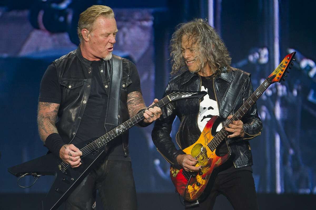 From left: James Hetfield and Kirk Hammett of Metallica during day two of the Outside Lands music festival at Golden Gate Park on Saturday, Aug. 12, 2017, in San Francisco, Calif.