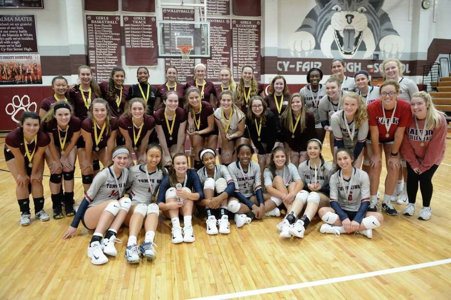 Cinco Ranch (in Maroon) finished in first place while Tompkins (in gray) finished in second place of Gold Bracket during the 2017 Cy-Fair ISD/Katy ISD Volleyball Classic on August 12, 2017 at Cy-Fair High School, Cypress, TX. Photo: Craig Moseley, Staff / ©2017 Houston Chronicle