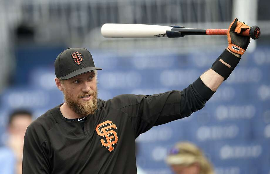 San Francisco Giants' Hunter Pence looks on during batting practice before a baseball game against the Washington Nationals, Saturday, Aug. 12, 2017. Photo: Nick Wass, Associated Press