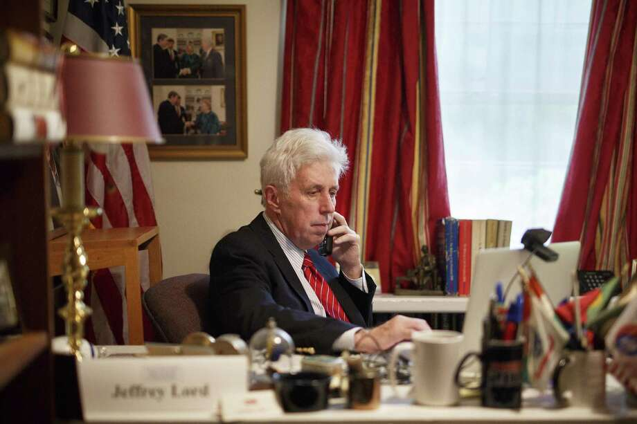 FILE- In this Sept. 16, 2016, file photo, Jeffrey Lord prepares for a CNN broadcast from his home office in Camp Hill, Pa. CNN cut ties Thursday, Aug. 10, 2017, with Lord, a conservative commentator, after he tweeted a Nazi salute at a critic. (Daniel Zampogna/PennLive.com via AP, File) Photo: Daniel Zampogna / Associated Press / PennLive.com