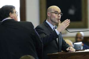 Representative Dennis Bonnen, R-Angleton, defends against amendments to his property tax relief bill before the House as legislators convene on Saturday to work on remaining bills at the State Capitol on August 12, 2017.