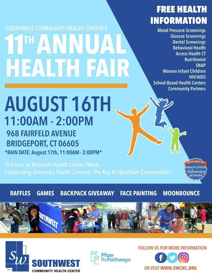 In celebration of National Health Center Week, which is this week, Southwest Community Health Center will host its 11th Annual Health Fair at 968 Fairfield Ave, Bridgeport, CT, 06605 from 11 a.m. to 2 p.m.Wednesday. Image courtesy of Southwest Community Health Center. Photo: Contributed / Contributed