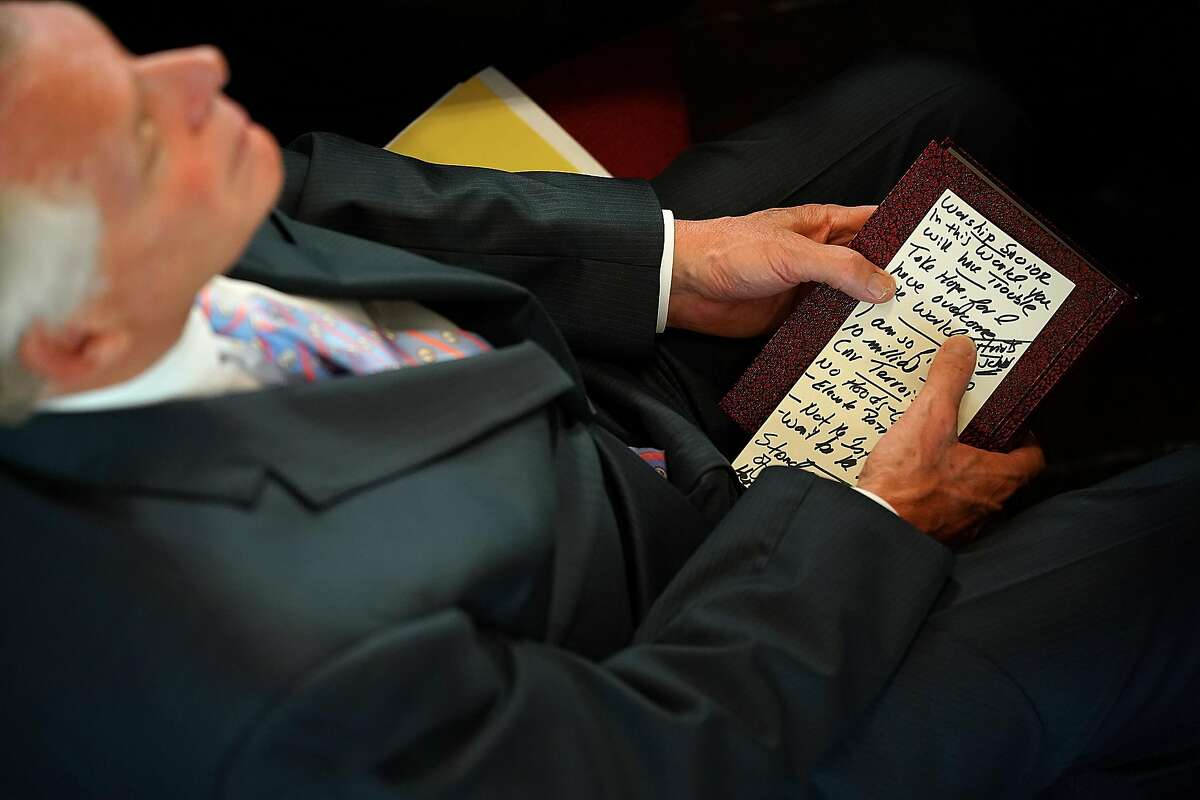 CHARLOTTESVILLE, VA - AUGUST 13: Virginia Gov. Terry McAuliffe holds his speaking notes before delivering remarks during morning services at the First Baptist Church August 13, 2017 in Charlottesville, Virginia. The city of Charlottesville is still reeling following violence at a 'Unite the Right' rally held by white nationalists, neo-Nazis and members of the 'alt-right'. (Photo by Win McNamee/Getty Images)