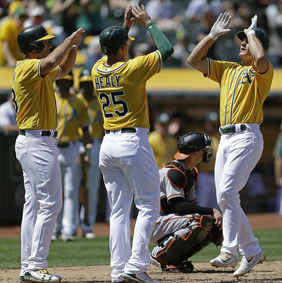 Oakland Athletics' Matt Chapman, right, celebrates with Ryon Healy (25) and Matt Olson, left, after hitting a three-run home run off Baltimore Orioles' Jeremy Hellickson in the fourth inning of a baseball game Sunday, Aug. 13, 2017, in Oakland, Calif. (AP Photo/Ben Margot) Photo: Ben Margot, Associated Press