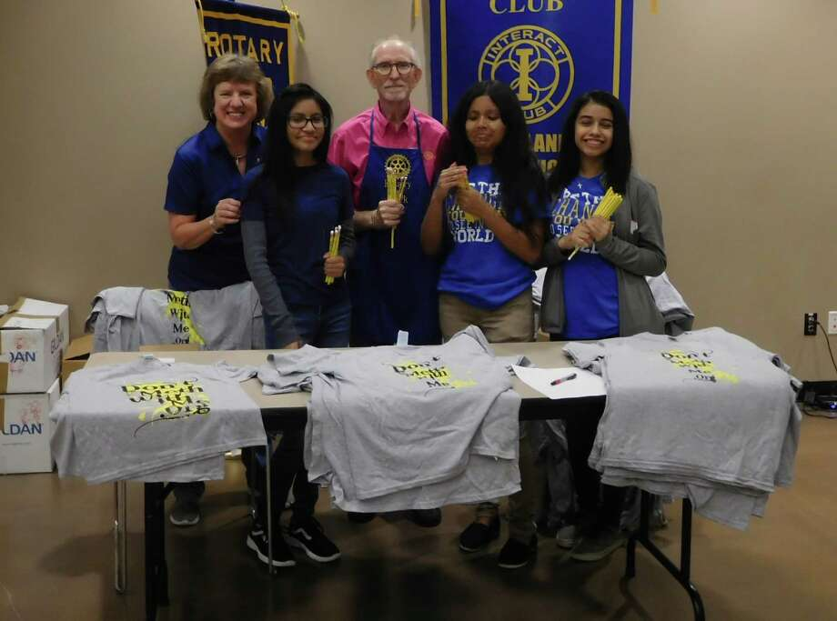 Members of the Cleveland High School Rotary Interact Club joined with Cleveland Rotary Club to support the city-wide Back to School Extravaganza that helped supply local students for the upcoming school year.  Rotary Interact Club numbers over 100 students and participates in many local projects.  Rotarians donated pencils and T-shirts.  Contact the office at Cleveland High School for more details.  Pictured (left to right):  From left: Claire Garrett, Jaretzy Flores, Tommie Daniel, Cindy Hernandez and Interact Club President Evelin Pacheco. Photo: Submitted