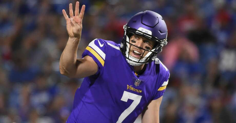 Minnesota Vikings quarterback Case Keenum (7) calls a play at the line during the second half of a preseason NFL football game Thursday, Aug. 10, 2017, in Orchard Park, N.Y. (AP Photo/Rich Barnes) Photo: Rich Barnes/Associated Press