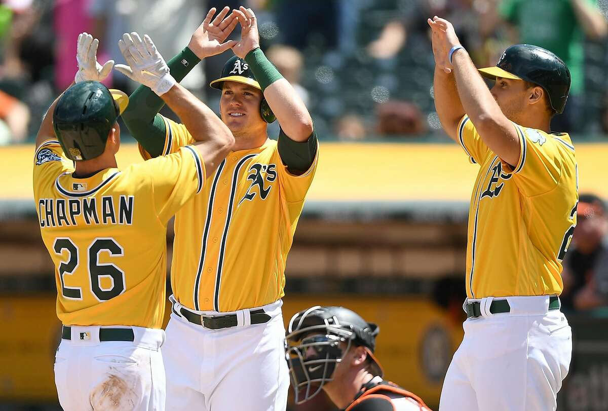 OAKLAND, CA - AUGUST 13: (L-R) Matt Chapman #26, Ryon Healy #25 and Matt Olson #28 of the Oakland Athletics celebrates after Chapman hit a three-run homer against the Baltimore Orioles in the bottom of the fourth inning at Oakland Alameda Coliseum on August 13, 2017 in Oakland, California. (Photo by Thearon W. Henderson/Getty Images)