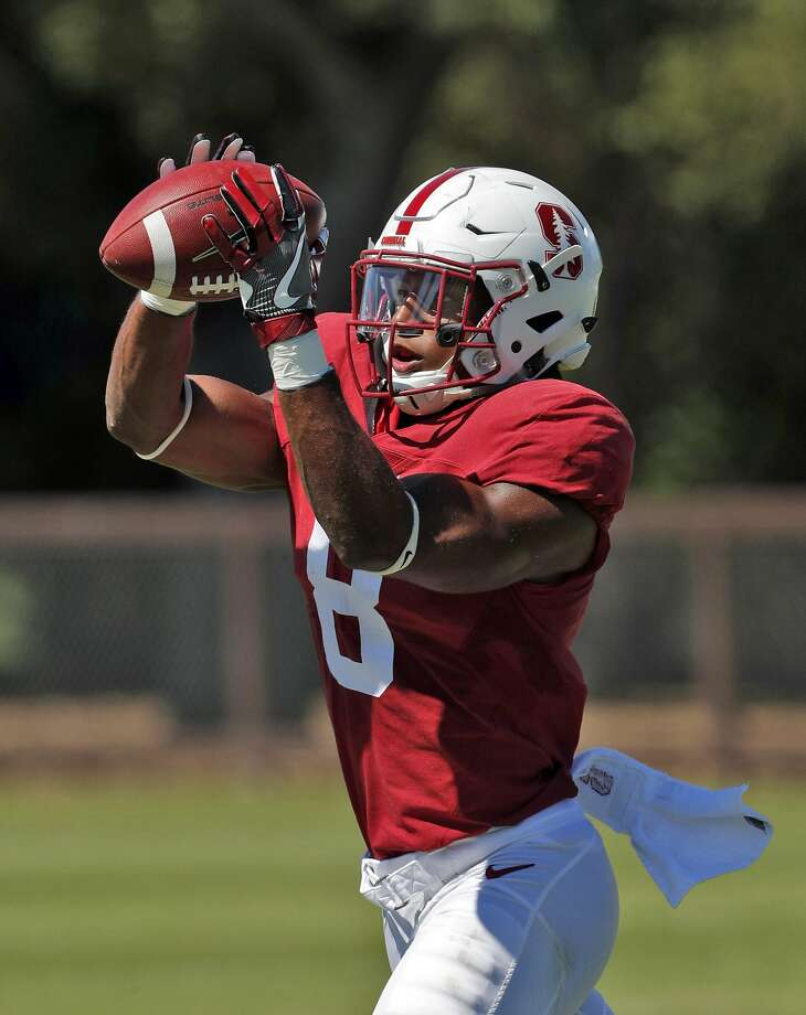 Strong safety Justin Reid (8) catches a ball while doing drills during Stanford football practice at Stanford, Calif., on Sunday, August 13, 2017. Photo: Carlos Avila Gonzalez, The Chronicle