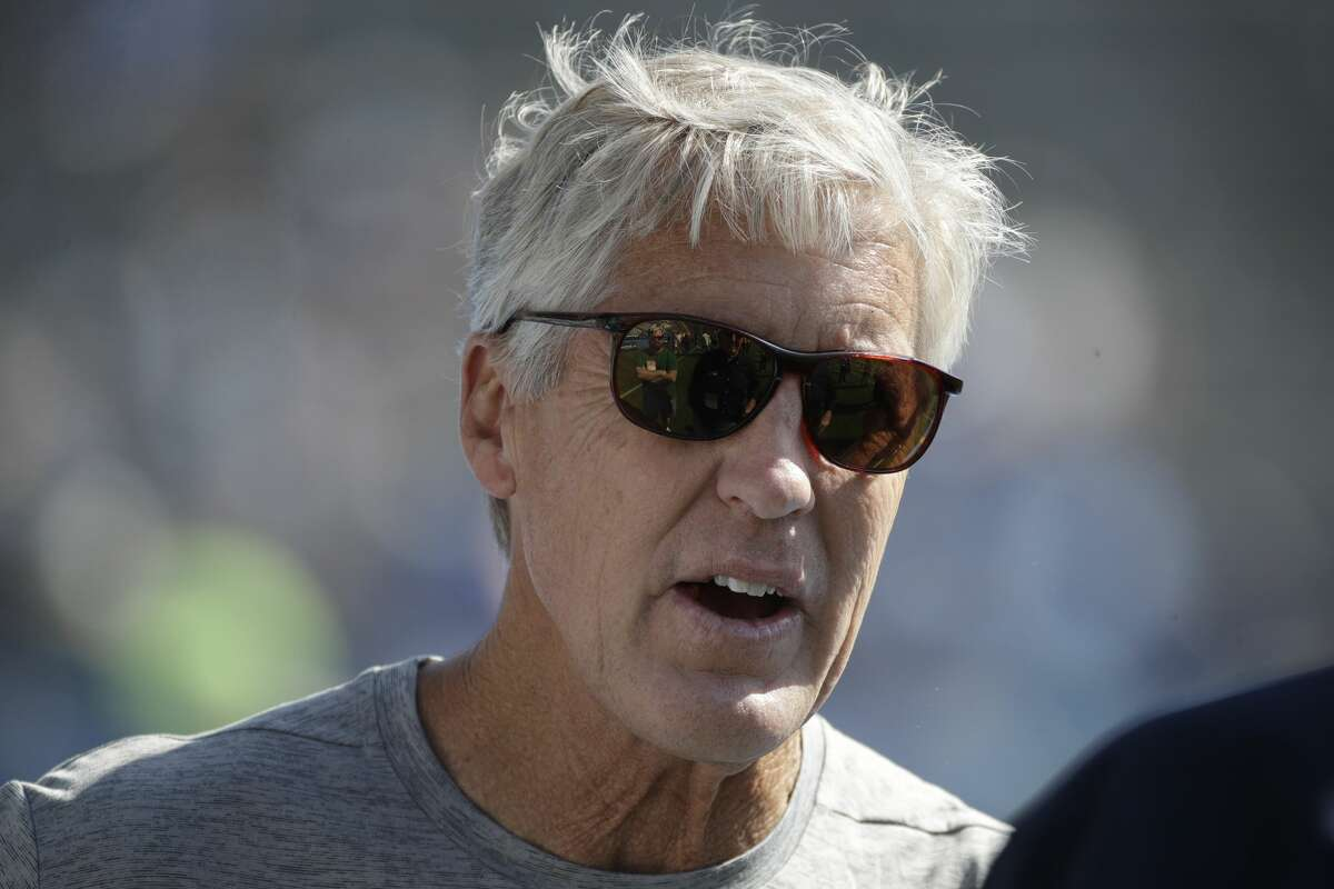Seattle Seahawks head coach Pete Carroll looks on before a preseason NFL football game against the Los Angeles Chargers Sunday, Aug. 13, 2017, in Carson, Calif. (AP Photo/Jae C. Hong)